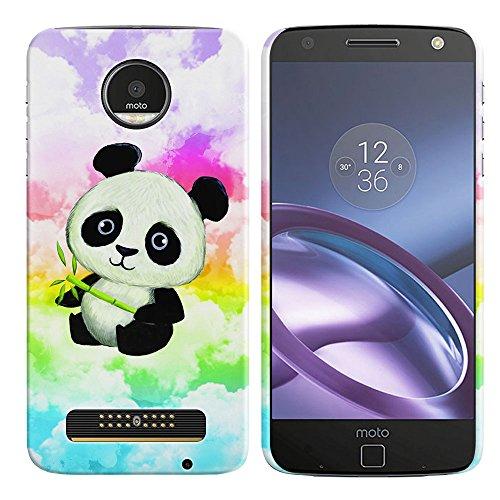 Motorola Moto Z Droid Edition Case, fincibo Back Cover Hard Kunststoff Protector Case Stilvolles Design Grün Marmor, Baby Panda (Style 2) Panda-design Hard Case