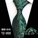LLTYTE Cravate Noeud Papillon Une Cravate Grise Progressive avec de Petites Fleurs Vertes, Une Cravate de réunions d'Affaires montrant la Confiance des Hommes...