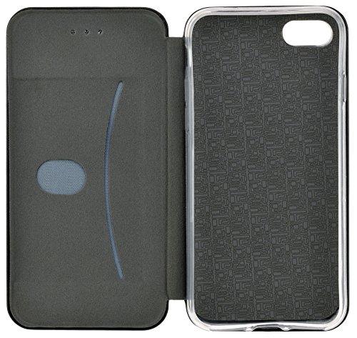 iPhone 7 PLUS - Premium Book Style Tasche Hülle Case Cover mit Kartenfach und Standfunktion in roségold schwarz