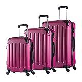 Woltu RK4204pk Set di Valigia Duro per Viaggio Bagaglio a Mano con Lucchetto Combinazione 4 Ruote Girevoli in ABS M/L/XL Rosa 3 Pezzi