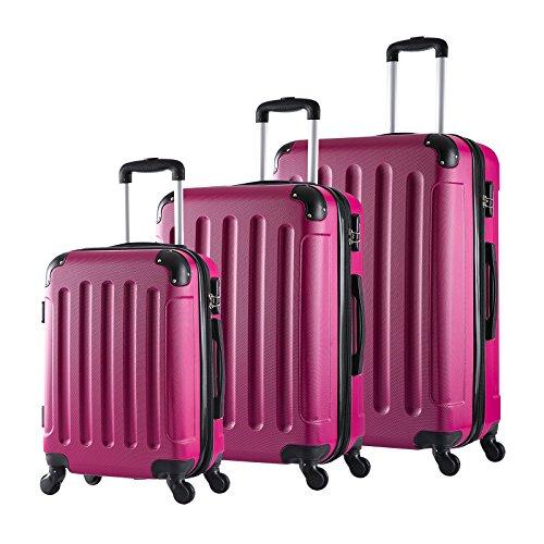 WOLTU RK4204pk Reise Koffer Trolley Hartschale mit erweiterbare Volumen , Reisekoffer Hartschalenkoffer 4 Rollen , M / L / XL / Set , leicht und günstig , Pink...