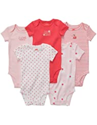 Carter's Baby Girls 5 Pack Short Sleeve Bodysuit Set (12 Months, Coral Multi) Color: Pink Size: 12 Months (Baby/Babe/Infant - Little ones)