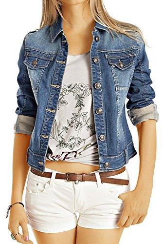 Bestyledberlin Damen Jeansjacke, Taillierte Denim Jacke, Skinny Fit Blouson ja60p M