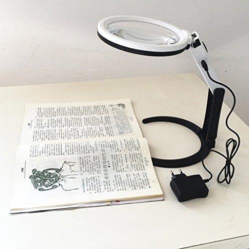 Bifocale 1.8X 5X Ø130mm Piegabile Luce Lampada Lente Di Ingrandimento Da Tavolo Con Luce 12 LED Portatile Con Base