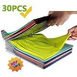 KALUNBS Organizador de Armario Hogar Estantería Camiseta Carpeta Sistema Antiarruga, Tamaño Normal, Transparente (30Pack)