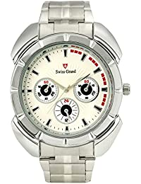 Swiss Grand SG-1166 Silver Coloured With Silver Stainless Steel Strap Analog Quartz Watch For Men