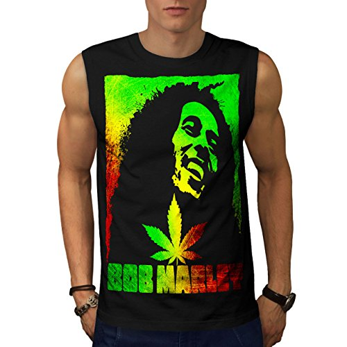 Wellcoda Bob Marley Pot Rasta Mens Sleevless T-Shirt, Smoke Athletic Top