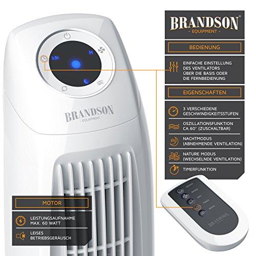 Brandson – Turmventilator mit Fernbedinung | Säulenventilator inkl. Oszillation | 86 cm | 60W | Ventilator mit 3 Geschwindigkeitsstufen Timer | LED-Display | leises Betriebsgeräusch | weiß Bild 3*