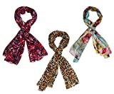 INDIAN FASHION GURU Womens Set of 3 Polycotton stoles and scarf