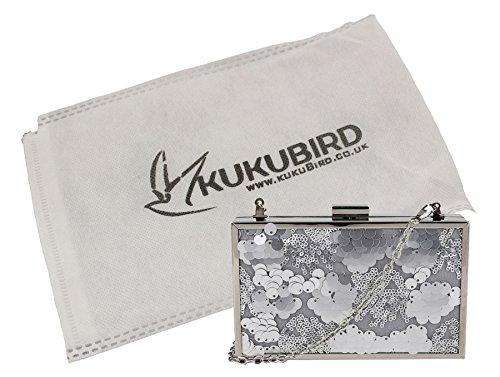 Su Kat paillettes dettaglio Box Clutch Bag con sacchetto raccoglipolvere su Silver