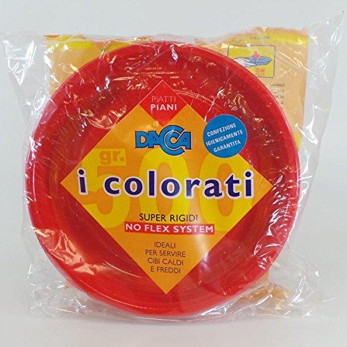 Dacca Piatto Piano di Plastica con Diametro di 20.5, Rosso - 1 Pezzo