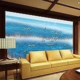 3D Papier Peint Non Tissé Nouveau Chinois Moderne À La Main À L'Encre Abstraite Peinture Papier Peint Salon Canapé Mer Européen Paysage Bleu Ancien Papier Peint Fond, 250Cm * 175Cm