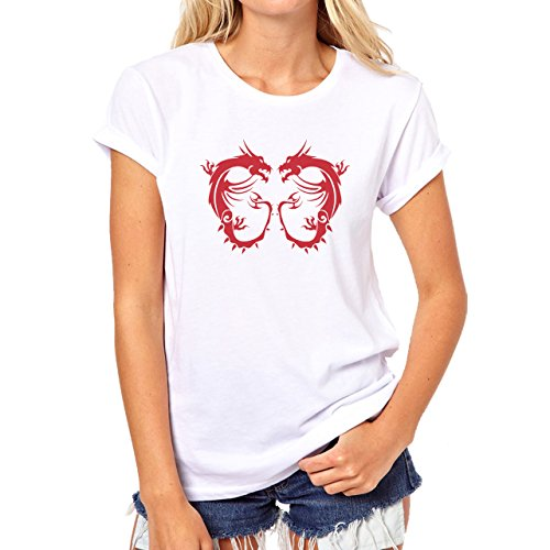 Two Angry Dragons Wings Red Damen T-Shirt Weiß