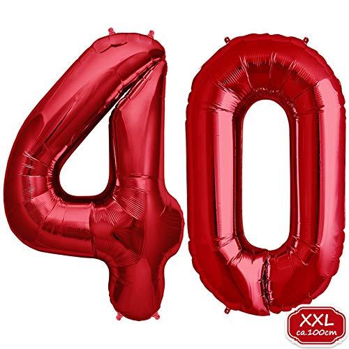 FUNXGO Folienballon Zahl in Rot- XXL / ca.100cm Riesenzahl Ballons - Folienballons für Luft oder Helium als Geburtstag, Hochzeit , Jubiläum oder Abschluss Geschenk, Party Dekoration (Rot [ 40 ])