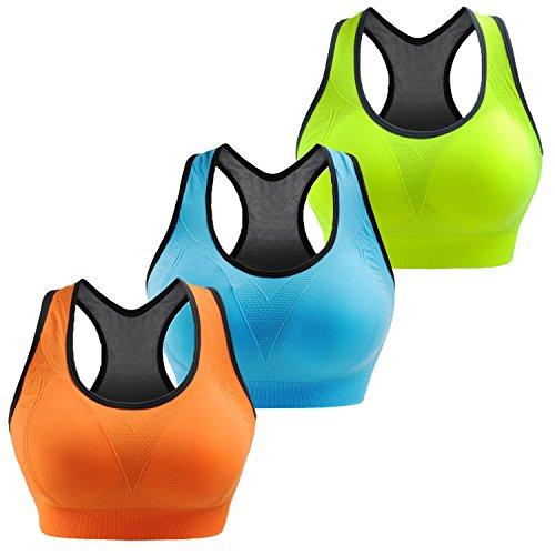 Paquete de 3 Libella Mujer Sujetador Deportivo Push Up Bustier Con Amplio Correas Fitness Yoga Camisetas Sin Mangas 3765 UN2 S/M