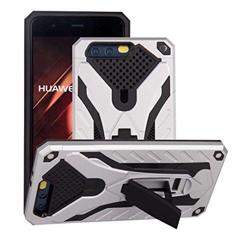 EKINHUI Case Cover Neue Stylish Hybrid Armor Schutzhülle Case Shockproof Dual Layer PC + TPU Back Cover mit Kickstand für [Shock Absorbtion] für Huawei P10 ( Color : Rosegold ) Silver