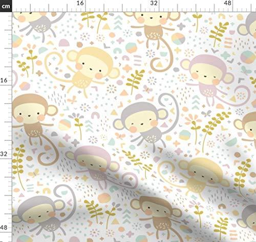 Affe, Tiere, Geometrisch, Dschungel, Baby, Pastell Stoffe - Individuell Bedruckt von Spoonflower - Design von Petite Circus Gedruckt auf Baumwoll Spandex Jersey -