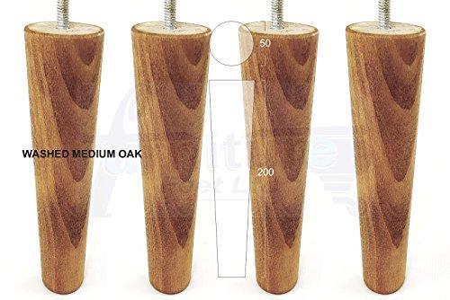 Med-ersatz (4x Füße Ersatz Möbel Beine Höhe: 200mm aus massivem Holz für Sofas, Stühle, Hocker M8(8mm) cwc836 Washed Med Oak)