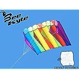 Bee-Kite Easy Shock - Cometa Monocable Parafoil 180 x 80 cm. sin ensamblaje - Lista para volar con cable y enrolla-cable