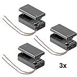 3 Stück Batteriehalter für 9 V-Block Akkuhalter Batteriefach mit Schalter EIN Aus
