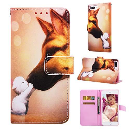 ne 8 Plus/ 7 Plus/ 6 Plus Hüllen Handyhülle Klapp Handytasche Taschen Flip Wallet Case Leder Schutzhülle Brieftasche Geldbörse Magnet Cover Kätzchen Hund ()