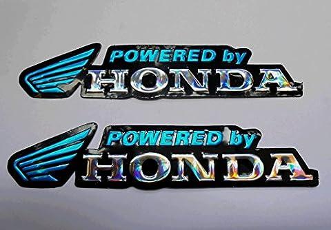 3D blue / chrome HONDA stickers decals - set of 2 pieces