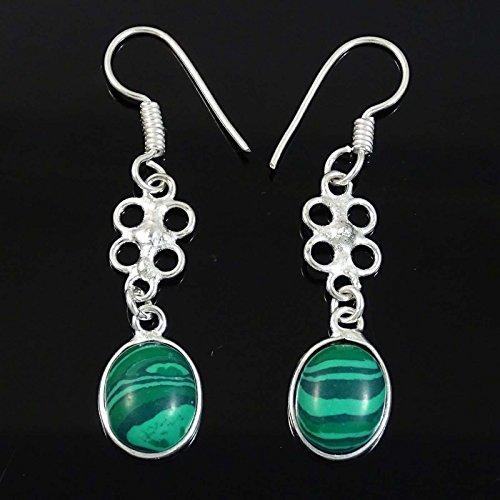 Banithani Plaqué Malachite Pierre Argent Dangle Boucle Cadeau De Bijoux En Inde Pour Les Femmes vert-3