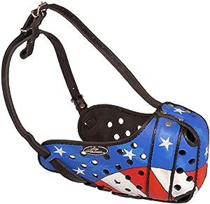 """Muselière en cuir pour chien peinte à la main """"Drapeau Américain patriotique pour formation et marche"""