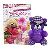Saugat Traders Teddy With Birthday Greeting Card