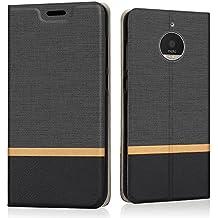 Funda Moto E4 Plus, Riffue Carcasa PU Ultra Delgada con Cartera de Estilo Libro Vaquero Protectora de Folio Flip Case para Motorola Moto E4 Plus - Negro