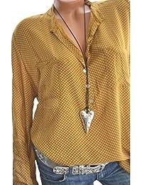 LINNUO Blusa Cuello de Solapa Camisa Topos Cuello en V Tops con Botones Blouse Manga Larga