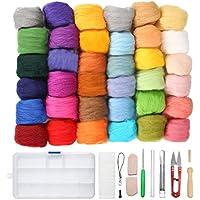 Jeteven 36 Farben Filzwolle Basteln Quennslandwolle Schafwolle DIY mit Werkzeug Set (10 Arten = 39er), geeignet für Nassfilzen und Trockenfilzen