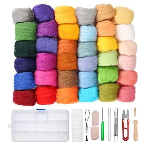 Jeteven 36 Farben Filzwolle Basteln Quennslandwolle Schafwolle DIY mit Werkzeug Set (10 Arten = 39er), geeignet für Nassfilzen und Trockenfilzen (Beliebteste Produkte)