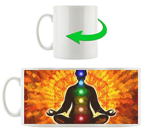 Meditation mit den 7 Chakren Kunst Pinsel Effekt, Motivtasse aus weißem Keramik 300ml, Tolle Geschenkidee zu jedem Anlass. Ihr neuer Lieblingsbecher für Kaffe, Tee und Heißgetränke