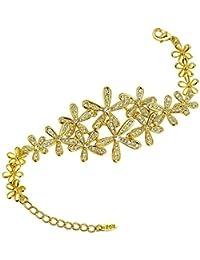 AnazoZ Joyería de Moda Pulseras de Mujer Chapado en Oro Pulseras Para Mujer Forma Flor CZ
