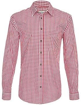 Hochwertiges Herren Trachtenhemd Gr.S-6XL Rot/Weiss Kariert