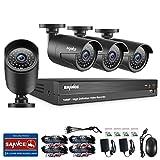 SANNCE Überwachungskamera Set 4CH 1080P Überwachungssystem AHD DVR Recorder Videoüberwachung mit 4 1080P 2,0MP Kameras für innen und außen Bereich ohne Festplatte Nachtsicht zwischen 30 Meter