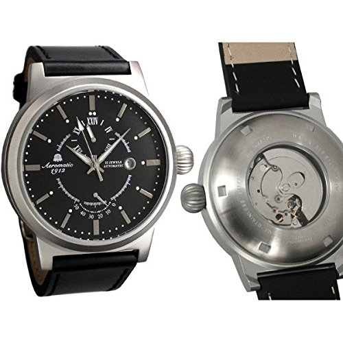 Aeromatic 1912 Aeromatic A1360 - Reloj para hombres, correa de cuero color negro
