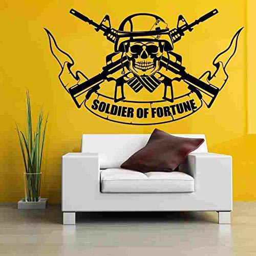 ONETOTOP Gewehr Aufkleber Gun Decal Soldat Name Schädel Poster Vinyl Wandtattoos Pegatina Quadro Parede Decor Wandbild Gewehr St 58 * 98 cm -