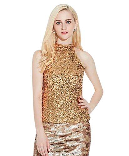 ten Glitzer Ärmellos Oberteil T-Shirt Bluse Pailletten Weste Tops Gold (Pailletten-gold Top)