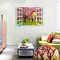 iTemer 3D Window View Romantic Cherry Tree Landscape Wallpaper Vinyl Wall Sticker Home Decoration by iTemer