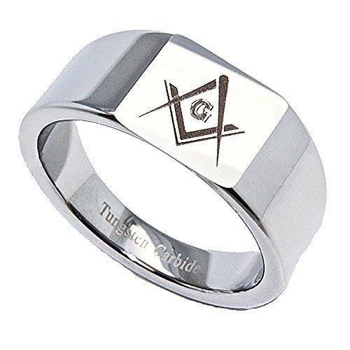 4 mm Band, 12 mm, viereckig oben Freimaurer Ring/Ehering Wolframcarbid, Größe L, 14 cm - Freimaurer Ringe Diamant