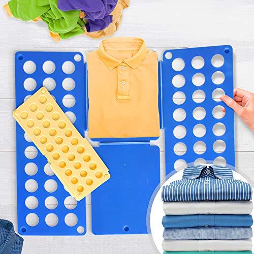 Grande Doblador de ropa Juego de 2 | en Azul (L/H: 70/59 cm) y Amarillo (L/H: 50/40cm) | Tablero para Plegar Camisas, Folding Board, Clothes Folder | para Camisetas, Camisas, Jerseys, Toallas, Sábanas