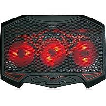 SKGAMES Notebook Laptop Kühler Gamer Kühlpad Ständer Kühlmatte Cooler Cooling Pad Unterlage für 10 - 17 Zoll, 3 x LED Lüfter, 2 x USB-Port, 5 Stufen Höhenverstellung, verstellbare Ventilatorgeschwindigkeit, Schwarz Rot