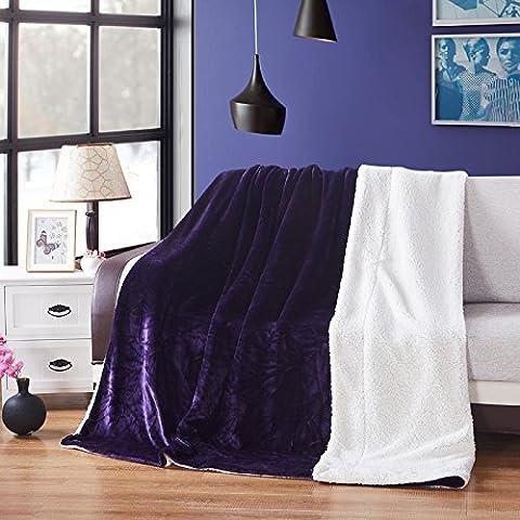HHYWS Morbido e caldo buttare letto divano buttare coltre spessa di Faller privo di pelucchi, Viola,200*230 cm 2,5 kg