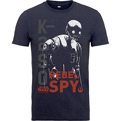 Star Wars T Shirt Rogue One K2S0 Rebel Spy Distressed Offiziell Kids Nue Navy (Spy Childrens Book)