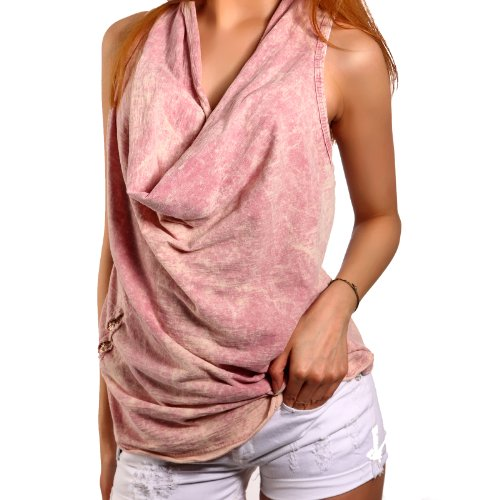 Damen Shirt Vintage Wash Wasserfall T-Shirt Italy Oversize 4Farben 32-38 Rosa