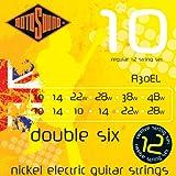 Rotosound Double Six Jeu de 12 cordes pour guitare électrique Nickel Tirant extra light 10-10, 14-14, 22-10, 28-14, 38-22, 48-28