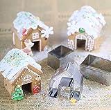 Vplus 3pcs Christmas House mini Gingerbread House set di stampini in acciaio INOX Cookie biscotti al cioccolato stampo Kids Enjoy giochi di rendere divertente