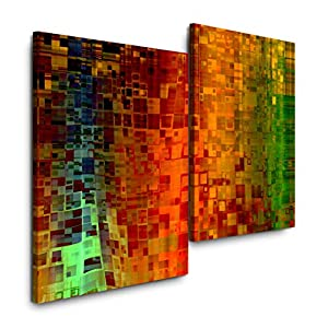 Sinus Art Abstrakte Kunst 120x80cm 2 Kunstdrucke je 70x60cm Kunstdruck modern Wandbilder XXL Wanddekoration Design Wand Bild